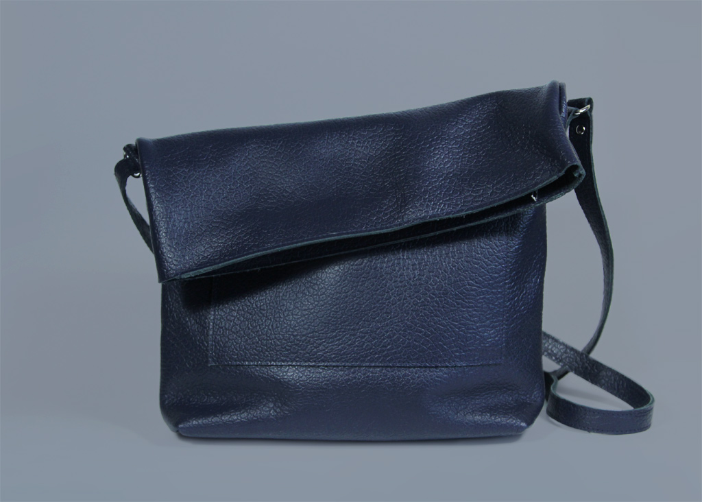 Navy Blue Crossbody Bag Ursula Royal Leather Purse On A Zipper A4