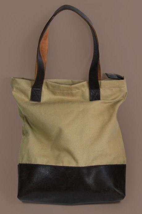Hamilton Two - Cotton Canvas Shopper Bag with Leather Botom / Beige Tote Bag / Shopping Bag / Casual Bag