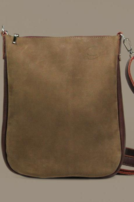 "Brown Crossbody Bag with Zipper ""Joey Brownie"", Small Brown Crossbody Purse, Leather Bag for iPad mini, Brown Leather Unisex Crossbody"