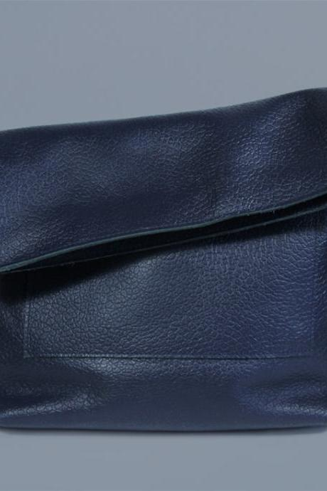 Navy Blue Crossbody Bag 'Ursula Royal', Leather Purse on a Zipper, A4 size Leather Handbag